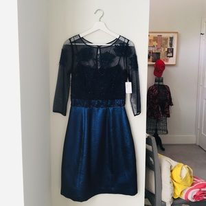 Navy lace, beaded Kay Unger dress